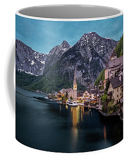 Hallstatt Village At Dusk, Austria Coffee Mug