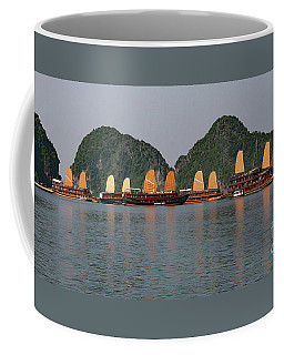 Coffee Mug featuring the photograph Halong Bay--waiting For Sunrise by PJ Boylan