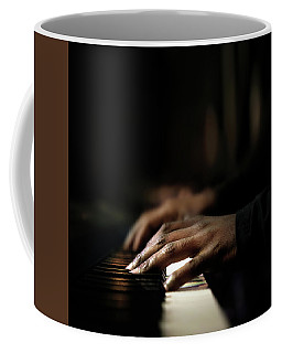 Hands Playing Piano Close-up Coffee Mug