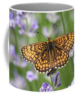 Heath Fritillary On The Lavender Coffee Mug