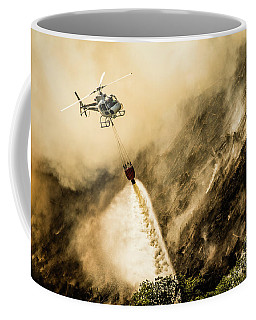 Helicopter Dropping Water On A Forest Fire Coffee Mug