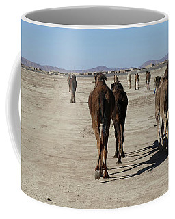 Herd Of Camels Crossing The Highway Near  Rissani Coffee Mug