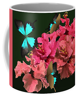 Coffee Mug featuring the drawing Hibiscus Butterfly Joy by Joan Stratton