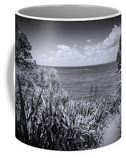 Hiking On Tiritiri Matangi New Zealand Bw Coffee Mug