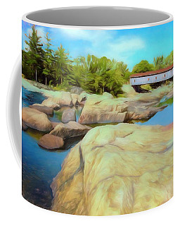 Historic Jay Covered Bridge Spanning The Ausable River In The Ad Coffee Mug