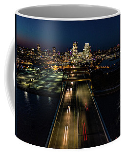 Coffee Mug featuring the photograph Hoan Bridge Streaks by Randy Scherkenbach