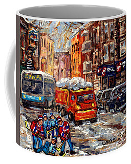 Hockey Art Streets Of The Pointe Sw Montreal Winter Scene Chic Regal Resto C Spandau Quebec Artist Coffee Mug