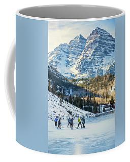 Hockey On Maroon Lake Maroon Bells Aspen Colorado Coffee Mug
