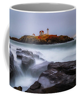 Coffee Mug featuring the photograph Holiday Lights, Nubble Lighthouse York Me. by Michael Hubley