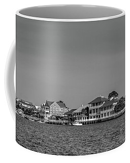 Homes Across The Water In Morning In Black And White Coffee Mug