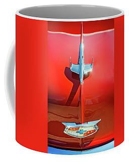 Hood Ornament On A Red 55 Chevy Coffee Mug