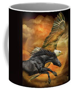 Coffee Mug featuring the mixed media Horse And Eagle - Spirits Of The Wind  by Carol Cavalaris