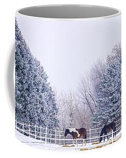 Horses In The Snow Coffee Mug