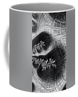 Coffee Mug featuring the digital art House Plants Monochrome Fractal Abstract by Shelli Fitzpatrick