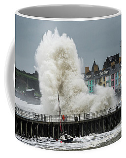Huge Wave Hitting Aberystwyth Seafront Coffee Mug