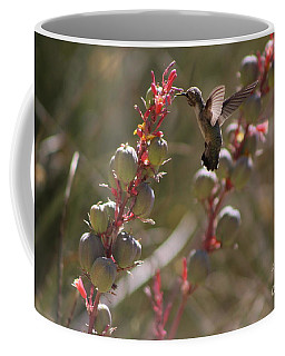 Hummingbird Flying To Red Yucca 3 In 3 Coffee Mug