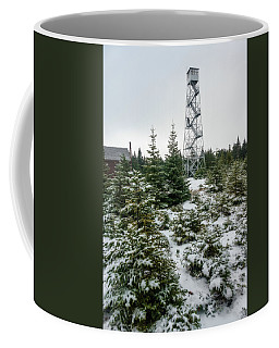 Coffee Mug featuring the photograph Hunter Mountain Fire Tower by Brad Wenskoski