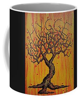 Coffee Mug featuring the drawing Hygge Love Tree by Aaron Bombalicki