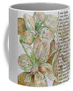 I Am...positive Affirmation In Coral And Green Coffee Mug