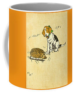 Puppy And Hedgehog, Illustration Of Coffee Mug