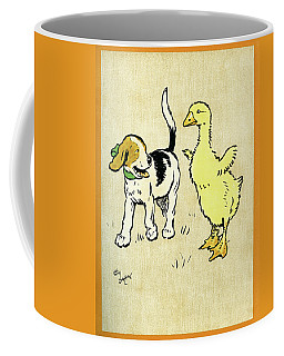 Illustration Of Puppy And Gosling Coffee Mug