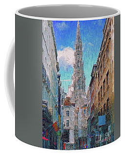 Coffee Mug featuring the photograph In-spired  Street Scene Brussels by Leigh Kemp