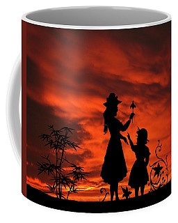 In The Garden Mother And Daughter Sunset Silhouette Series   Coffee Mug