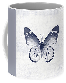 Indigo And White Butterfly 1- Art By Linda Woods Coffee Mug