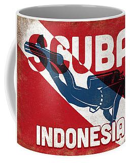Indonesia Scuba Diver - Blue Retro Coffee Mug
