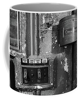Coffee Mug featuring the photograph Inside The Projection Room - Bw by Kristia Adams