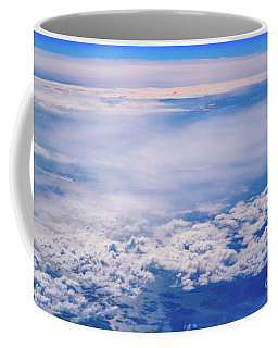 Intense Blue Sky With White Clouds And Plane Crossing It, Seen From Above In Another Plane. Coffee Mug