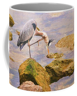 Coffee Mug featuring the photograph Itchy  Neck Heron by Ola Allen