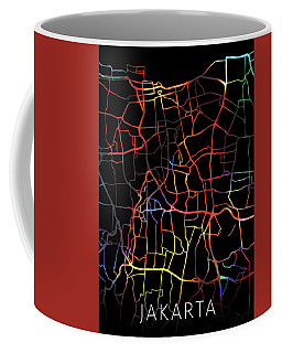 Jakarta Indonesia Watercolor City Street Map Dark Mode Coffee Mug