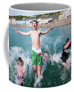 Jetty Jumping Into The Sea Coffee Mug