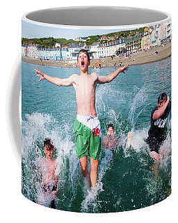 Jetty Jumping Into The Sea Coffee Mug