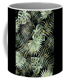 Jungle Dark Tropical Leaves Coffee Mug