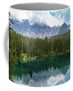 Coffee Mug featuring the photograph Karersee And Latemar by Andreas Levi
