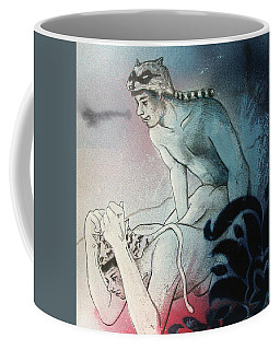Coffee Mug featuring the drawing Kittty In Trouble by Rene Capone