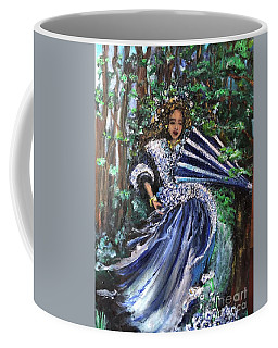 Coffee Mug featuring the painting Lady In Forest by Laurie Lundquist