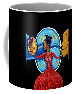 African Goddess Lady In Red Afrocentric Art Mother Earth Black Woman Art Coffee Mug