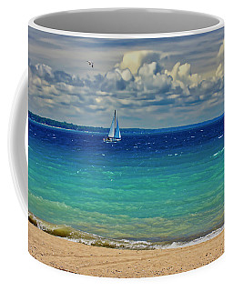 Lake Huron Sailboat Coffee Mug