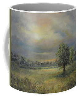 Landscape Of A Meadow With Sun And Trees Coffee Mug