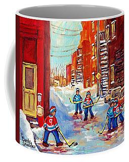 Laneway Hockey Game Off 4th Ave Verdun Winter Staircase Snow Scene C Spandau Southwest Montreal Art  Coffee Mug