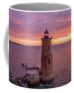 Coffee Mug featuring the photograph Lavender Dreaming Whaleback Lighthouse by Michael Hughes