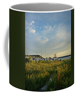 Coffee Mug featuring the photograph Leland Harbor At Sunset by SimplyCMB