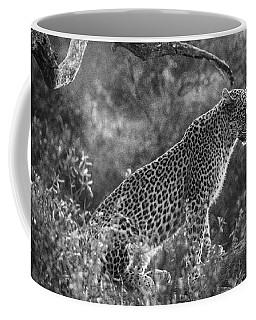 Leopard Sitting Black And White Coffee Mug