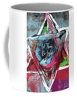 Coffee Mug featuring the mixed media Let There Be Light Expressionist Star- Art By Linda Woods by Linda Woods