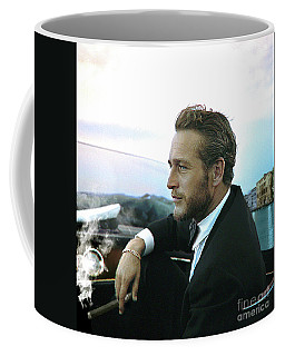 Life Is A Journey, Paul Newman, Movie Star, Cruising Venice, Enjoying A Cuban Cigar Coffee Mug