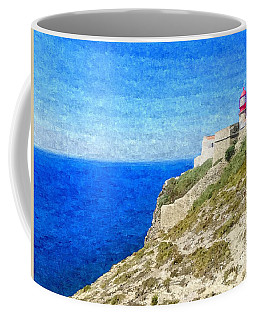 Lighthouse On Top Of A Cliff Overlooking The Blue Ocean On A Sunny Day, Painted In Oil On Canvas. Coffee Mug