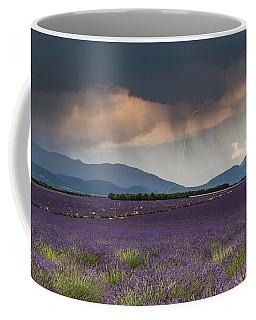 Lightning Over Lavender Field Coffee Mug